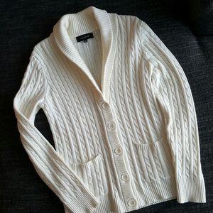JONES NEW YORK Cream Cable Knit Cardigan-Medium